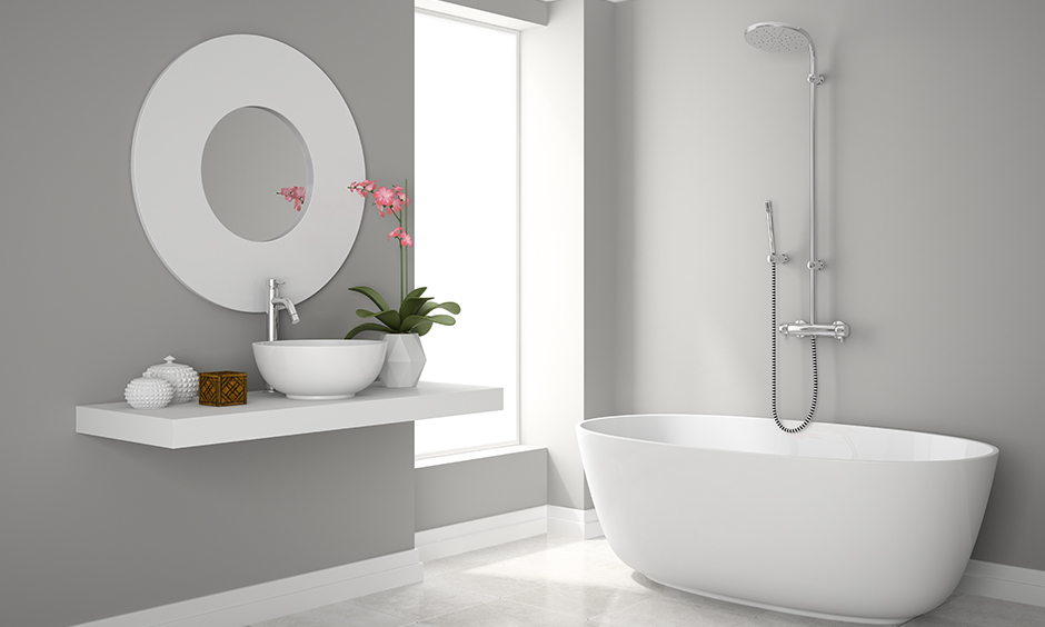 Bathroom sink design gallery with white ceramic sink in the shape of a bowl which is contemporary and classic