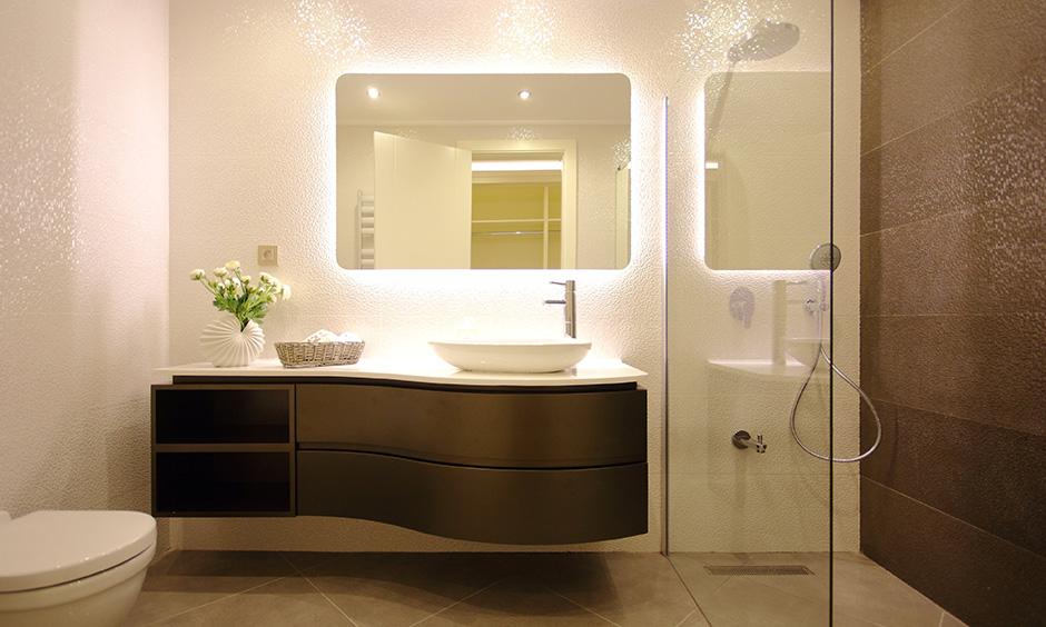 Designer bathroom sink with elegant look with floating sink cabinet made of wood and shelves