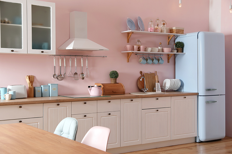 Pastel kitchen paint is another great way of incorporating pretty colours and good vibe.