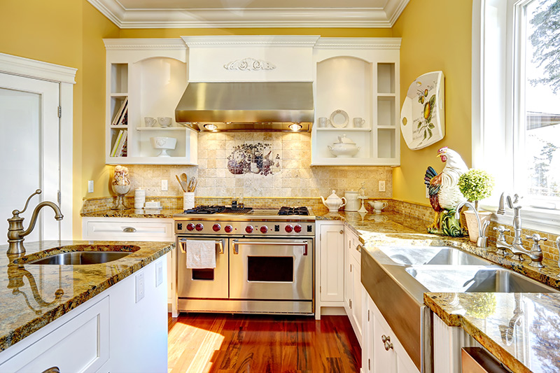 kitchen wall paint to be painted in bright colours to ensure a free flow of positive energy.
