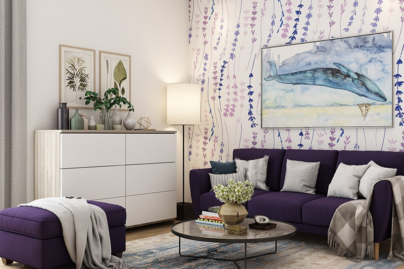 Colour combination for living room go with lavender and white