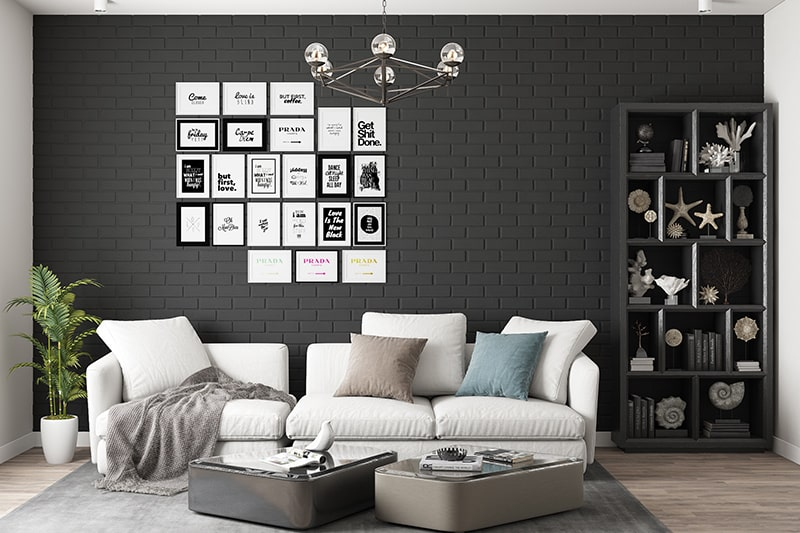Black and white living room is a classical living room color combination
