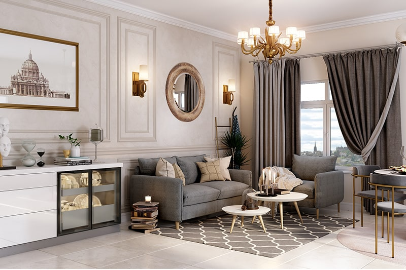 Beige and shades of grey combination living room add a touch of class and luxury to their living room