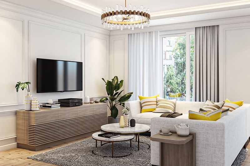 Best color for living room walls with white and bright for a sharp look