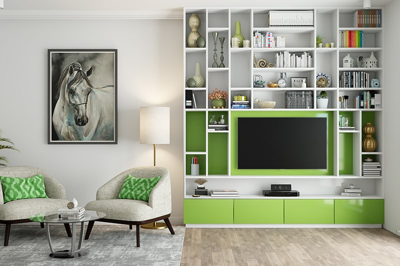 Olive green and white color will bring in a warm, cozy ambience to your living room