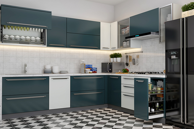 Acrylic modular kitchen which is an affordable alternative in kitchens with high gloss look and also durable