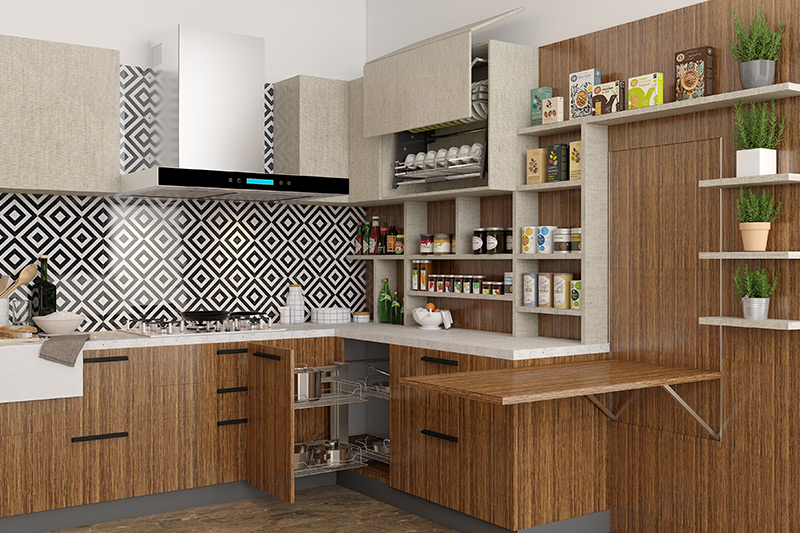 Kitchen finish with veneer made up of thin films of real wood used on used on cabinets, tops, and doors