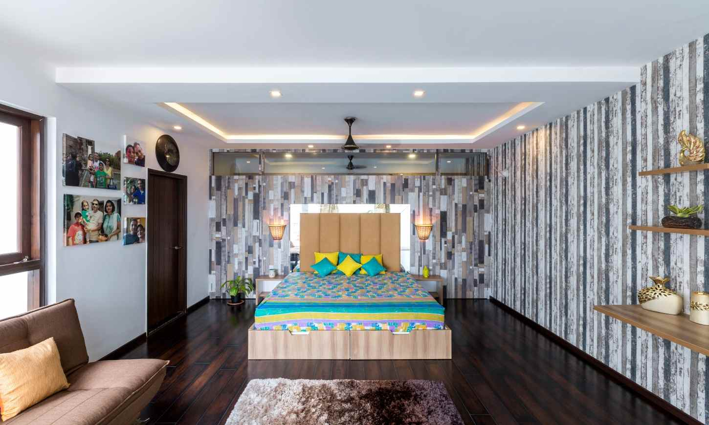 Low budget interior designers in bangalore with a bedroom with bold patterns
