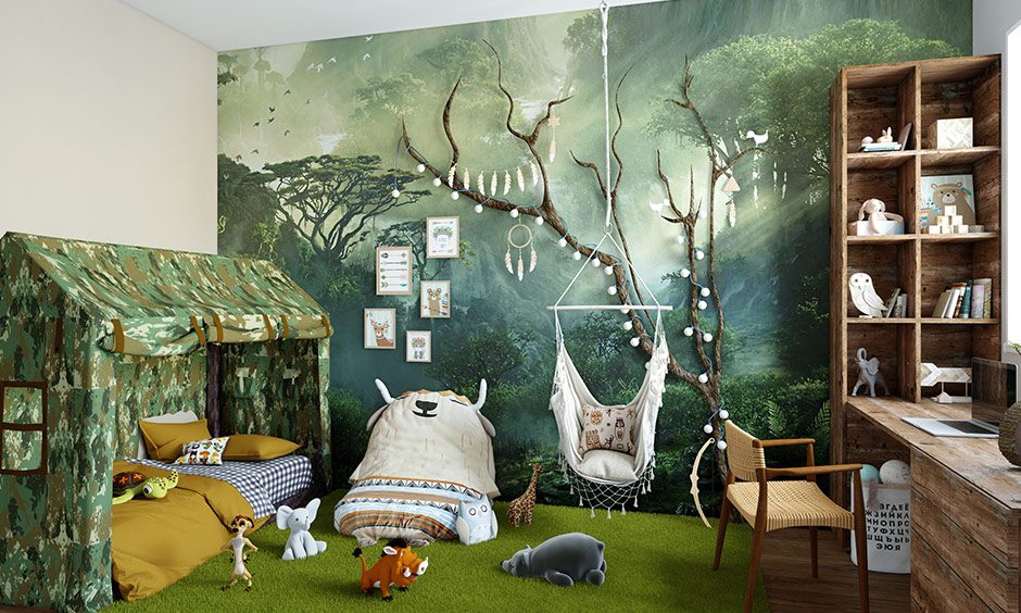 African jungle themed kids bedroom style will make kids feel like they are amidst the wilderness.