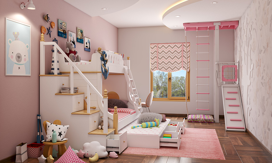 Kids bedroom style a play area and a study unit which together makes the room fun and functional.