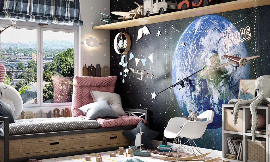 A Space-Themed kids bedroom style is suitable for a kid who is a true Astro junkie.