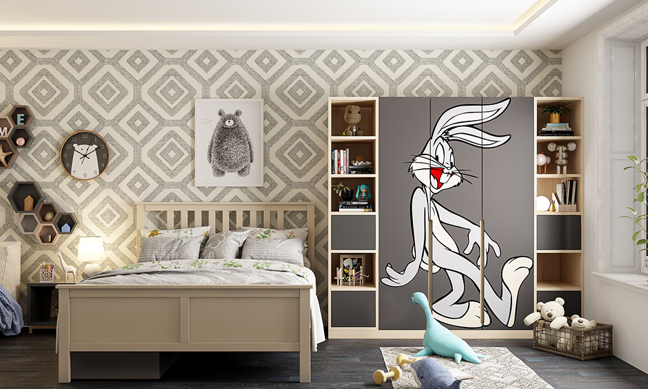 Beige and dark grey kids room colour combination is a classic and can play around with decor.