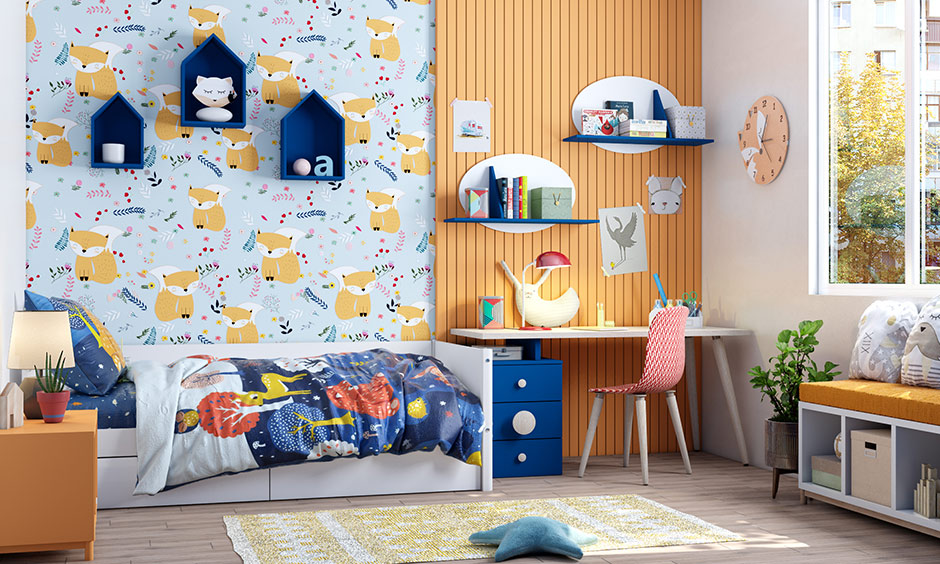 Shades of blue and orange can be used for kids' room colour combination that makes it more fun and beautiful.