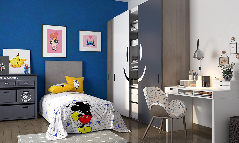 Cerulean blue and white kids room colors combination makes the bedroom both fun and trendy.