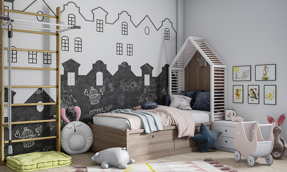 Chalkboard wall and white are best suitable kids room colors become the main decor element of the space.