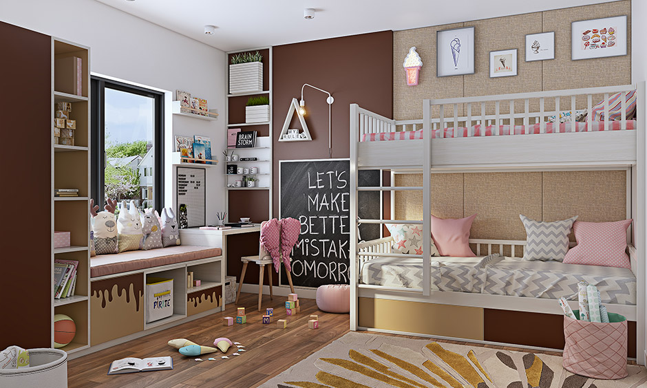 Light pink and chocolate colour combination for children's room is pretty, fun and timeless.
