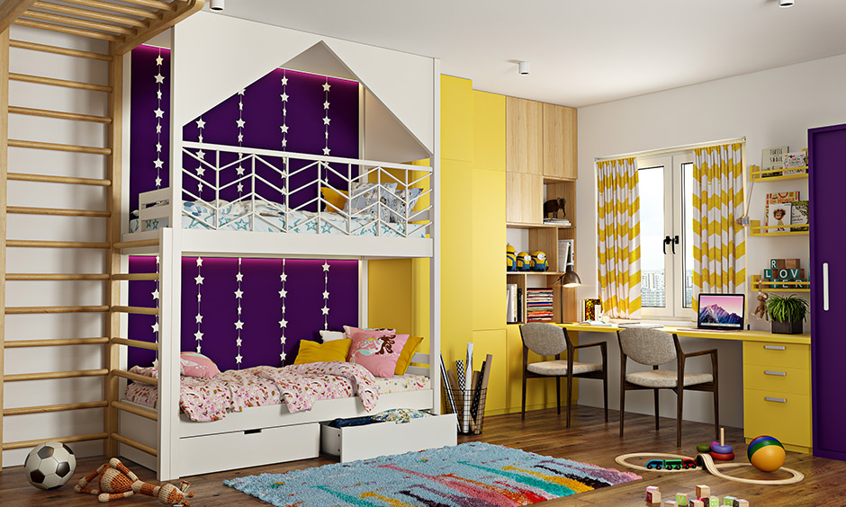 Bright purple and yellow create a vibrant and chirpy kids room colour combination.