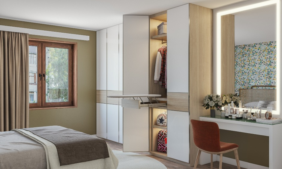Best wardrobe for kids bedroom with a white color wardrobe attached dressing unit