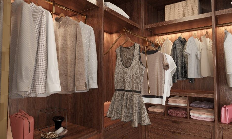 This wood walk-in wardrobe design with various options to store your clothing and accessories