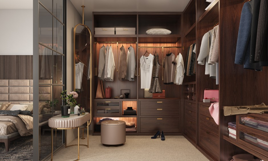 Master bedroom wardrobe with multiple drawers and open shelves for extra storage
