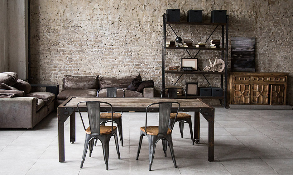 Brown color for brown furniture where unfinished and finished brick walls lend an industrial look