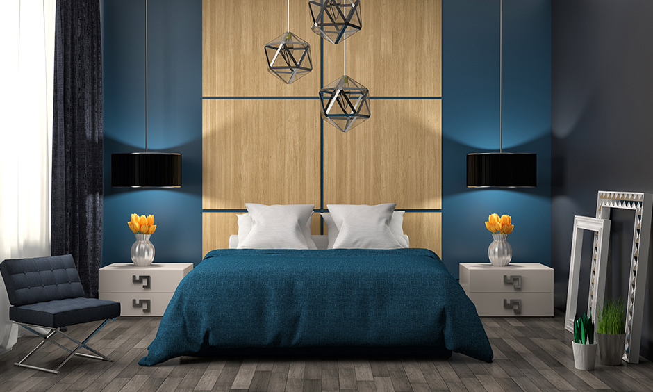 Brown two colour combination for bedroom walls with modern styled bedroom with blue walls and wooden panelled wall
