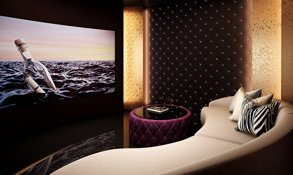 Classic home theatre interior design is perfect for a nice snuggle and looks luxurious.