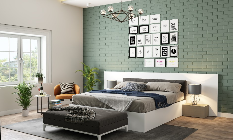Bedroom interior design for young couple with a tv unit