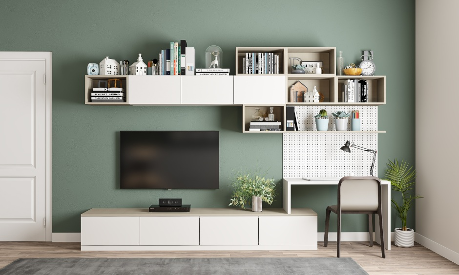 Bedroom tv unit come study with overhead cabinets and shelves
