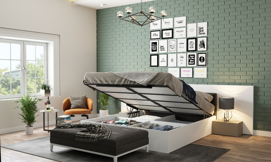 Hydraulic bed images with a multiple compartments for storage in bedroom design