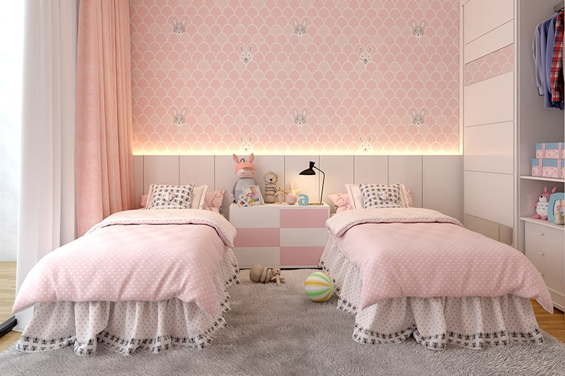 Girls bedroom colour combination with a blend of pinks and vanilla white on your bedroom walls