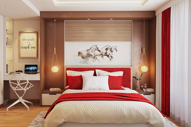 Master bedroom or guest bedroom colour combination with red and copper colour palette
