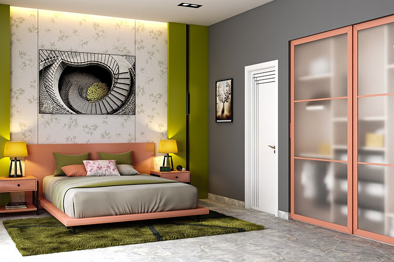 Two colour combination for bedroom with peach and olive green to make a fun bedroom