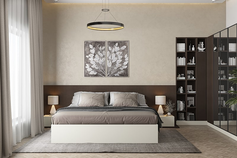 Simple bedroom colour combination with shades of brown contrast with the right interiors