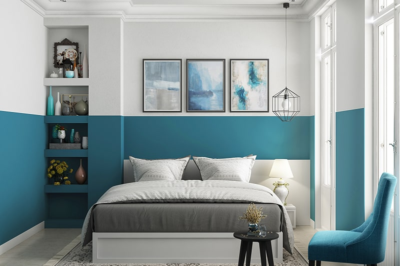 Best colour combination for bedroom walls with a dual-toned wall in sky blue and white
