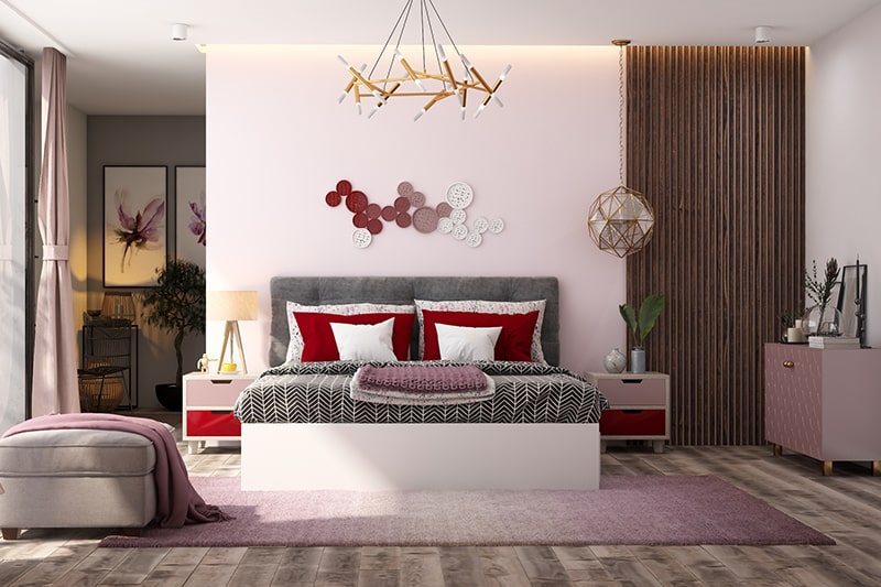 Two colour shades combination for bedroom with red and shades of pink