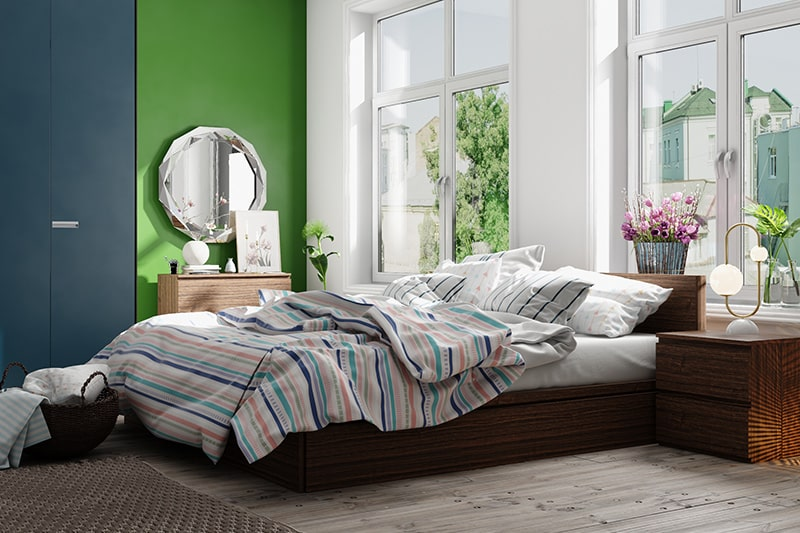 Small master bedroom or old aged homeowners color combinations with green blue and white