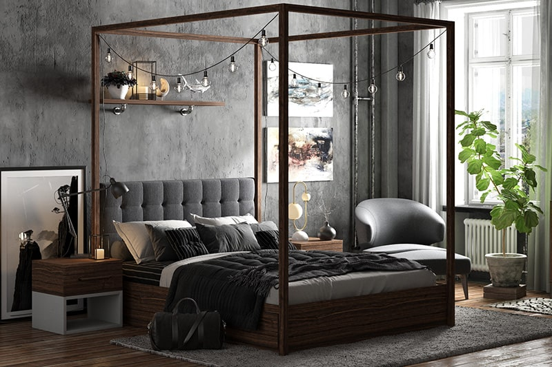 Bedroom interior colour combinations with shades of black and steel grey for industrial bedroom