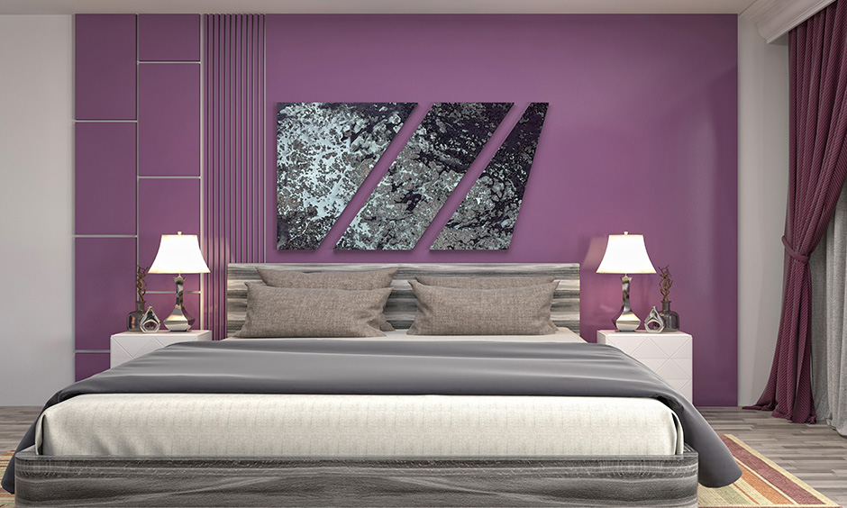 purple-colour-wall-with-grey-flooring-grey-curtains-and-quirky-wall