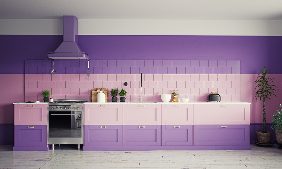 Purple wall colour combination for your kitchen with a mix of pink and matching cabinets