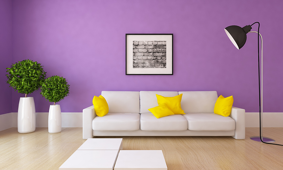 Purple wall paint with a white sofa yellow pillows with hardwood flooring for living room