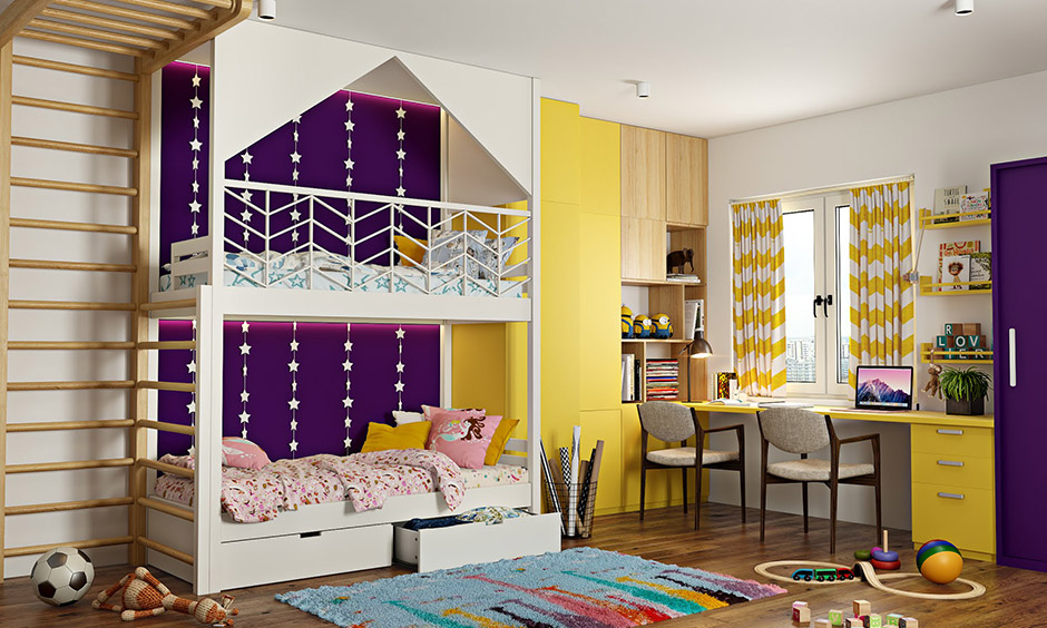 Purple bedroom walls for kids room with shades like yellow and white
