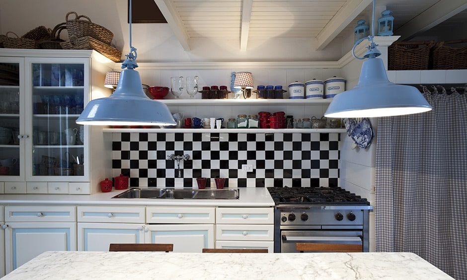 Country-style kitchen design by adding checkered black and white tiles