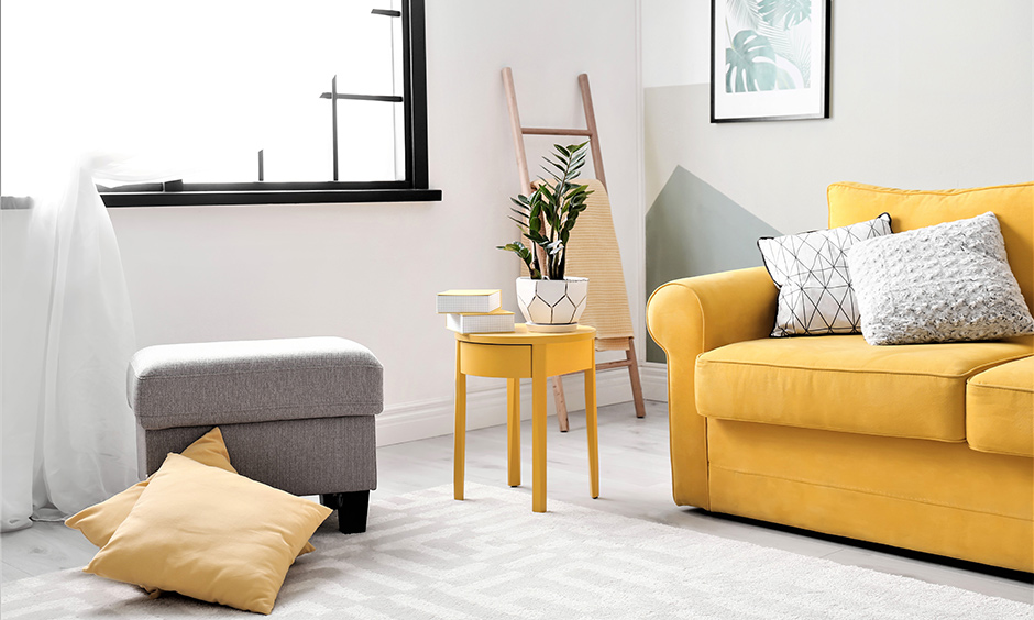 Window seat ideas make comfortably as a reading area in a corner with mix and match colours of furniture.