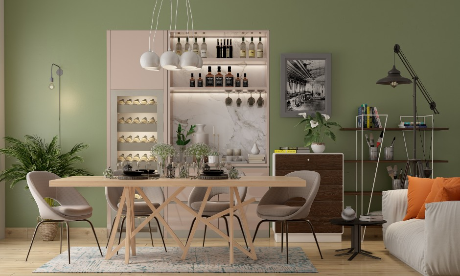 Dining room designs in modern minimal style with latest dining interiors for indian homes