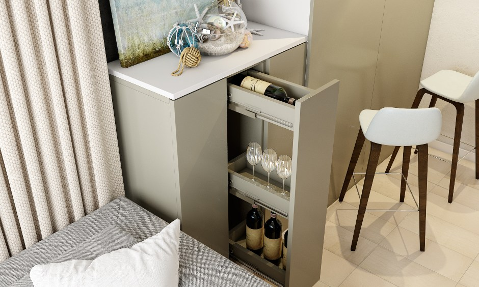 Modern minimal style dining room interior design with mini bar bottle pull out cabinet and crockery units.