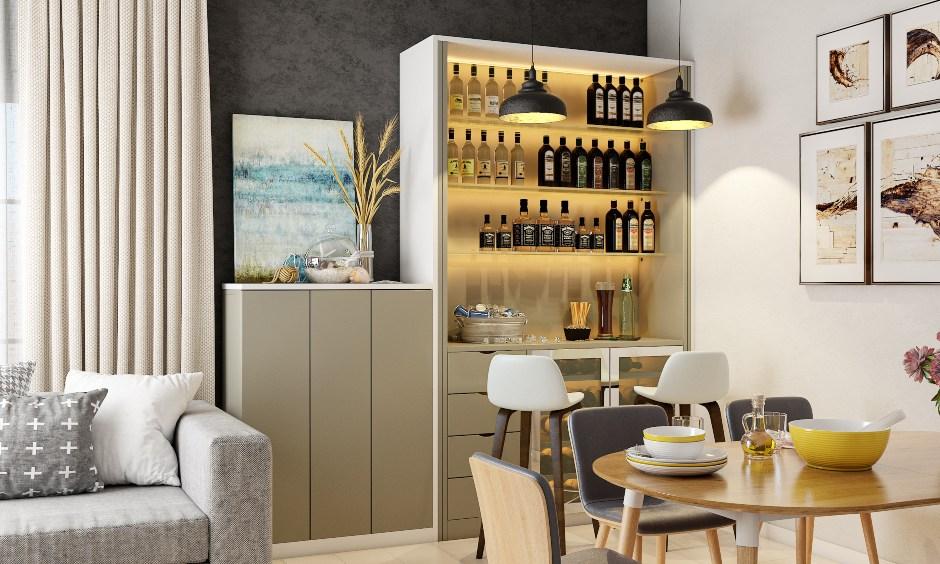 Dining room interior design in modern minimal style in Bangalore Mumbai Hyderabad.