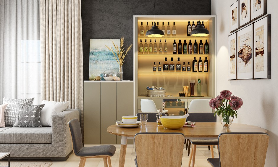 Dining room design in Modern minimal style with wooden dining tables 6 seater, cabinets, wine rack, chairs.