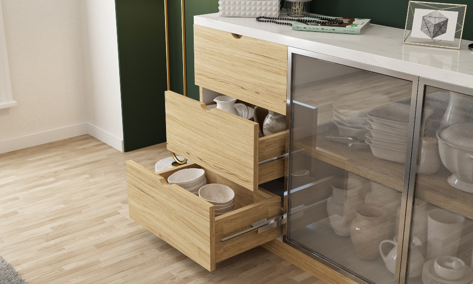 Crockery unit drawers to enhance dining room cabinet storage space in small indian homes images.