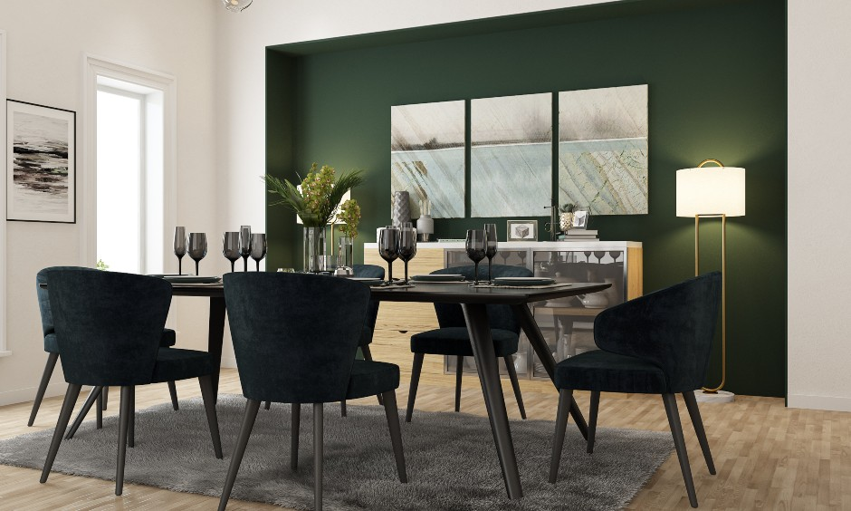 Dining hall interior designs in green colour to enhance dining room designs of small indian homes.